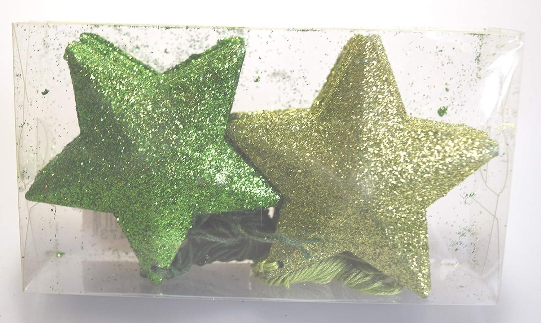 /Ø 7,5 cm Unbekannt Glitzersterne aus Metall 26 St/ück gr/ün