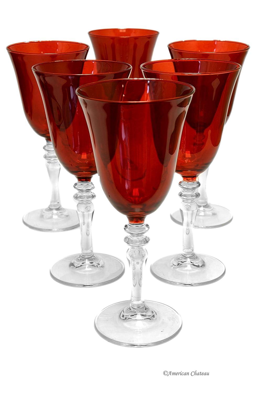 Red Wine Goblet Glass Pedestal Glasses - Set 6