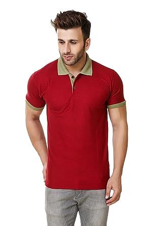 4d8365aa88d Austin-M Plain Men s Polo Maroon With Green T-Shirt (X-Large ...