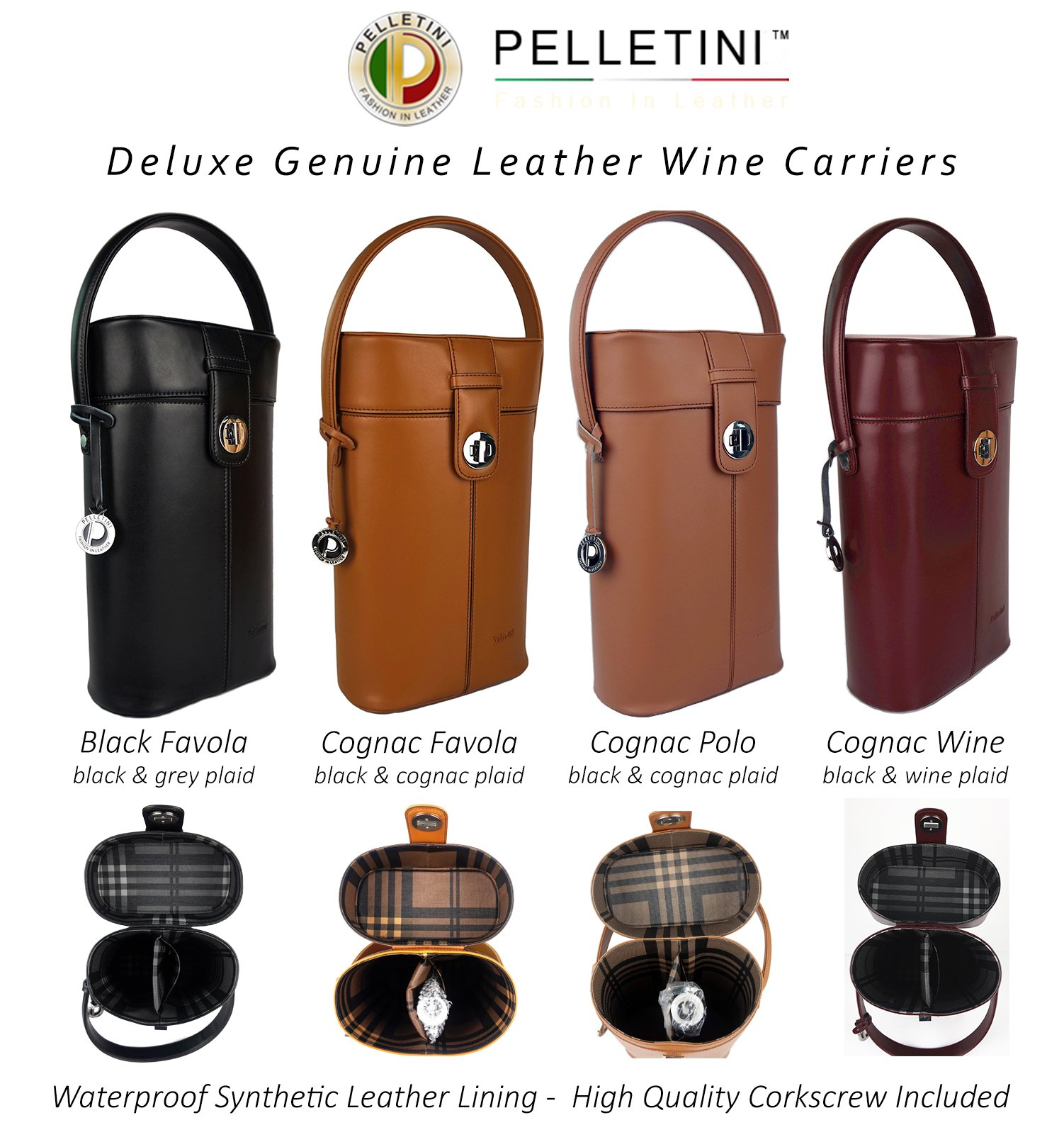 Deluxe Real Leather Wine Carrier Set - Includes Bottle Opener & Dust Bag - Double Wine Bottle Holder - Luxury Genuine Leather Wine Carrier - Wine Bag - Great Birthday Gift (Brown)
