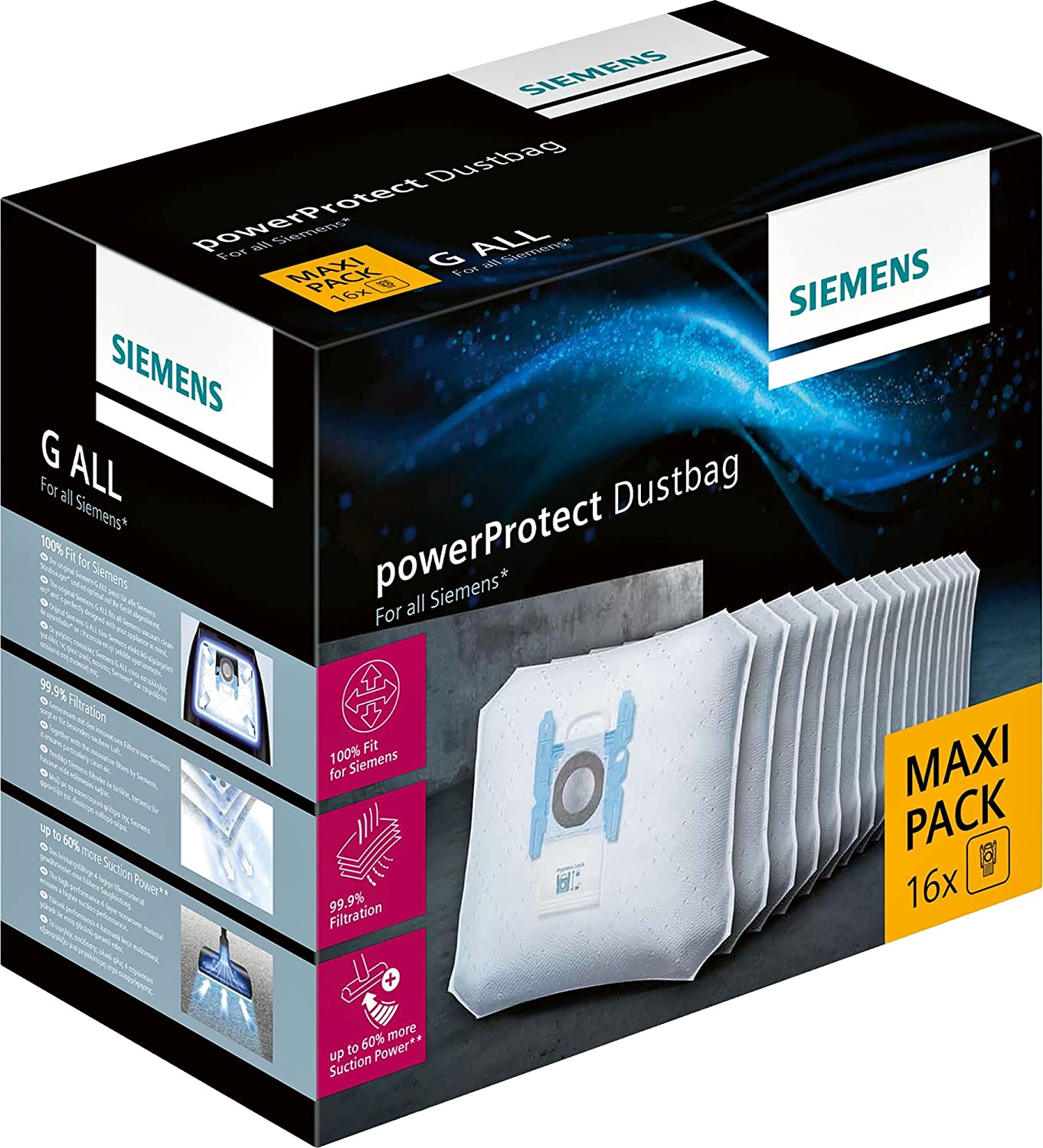 Siemens VZ16GALL Power Pro Tect Vacuum Cleaner Bags–Pack of 16with Fastener, Fits all ranges except VS08VS01