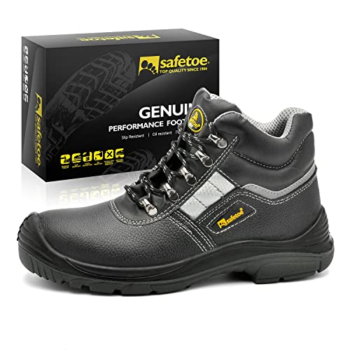 Leather Lace up Comfort Fit Wider Fitting Safety Shoes Boots UK Size 4-11 (