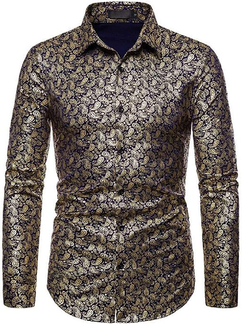 YYear Men Paisley Printing Button Up Club Long Sleeve Dress Shirts