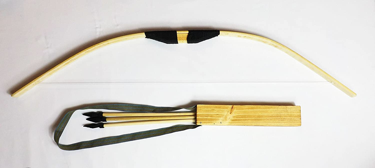 Big Wooden Bow and 3-Arrow Quiver Starter Youth Set - DeluxeAdultCostumes.com