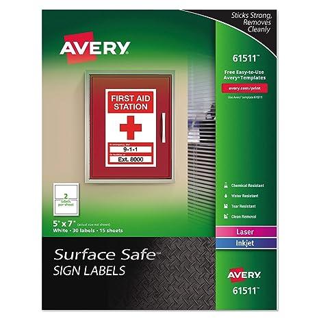 Amazon.com: Avery Surface seguro cartel etiquetas, 5