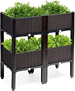Raised Garden Bed Set of 4,Plastic Elevated Garden Planter Outdoor Planters with Legs, Vegetables Flowers Outdoor Indoor Planting Box Container for Garden Patio Balcony (Brown)