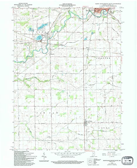 North Manchester Indiana Map.Amazon Com Yellowmaps North Manchester South In Topo Map 1 24000