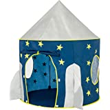 FoxPrint Rocket Ship Tent - Space Themed Pretend Play Tent - Space Play House - Spaceship Tent For Kids - Foldable Pop Up Sta