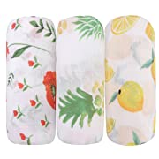 Bamboo baby Swaddle Blankets - 3 Pack Floral & Pineapple & Lemon Print Baby Unisex Muslin Blanket for Boys and Girls by Little Jump (Floral & Painapple & Lemon)