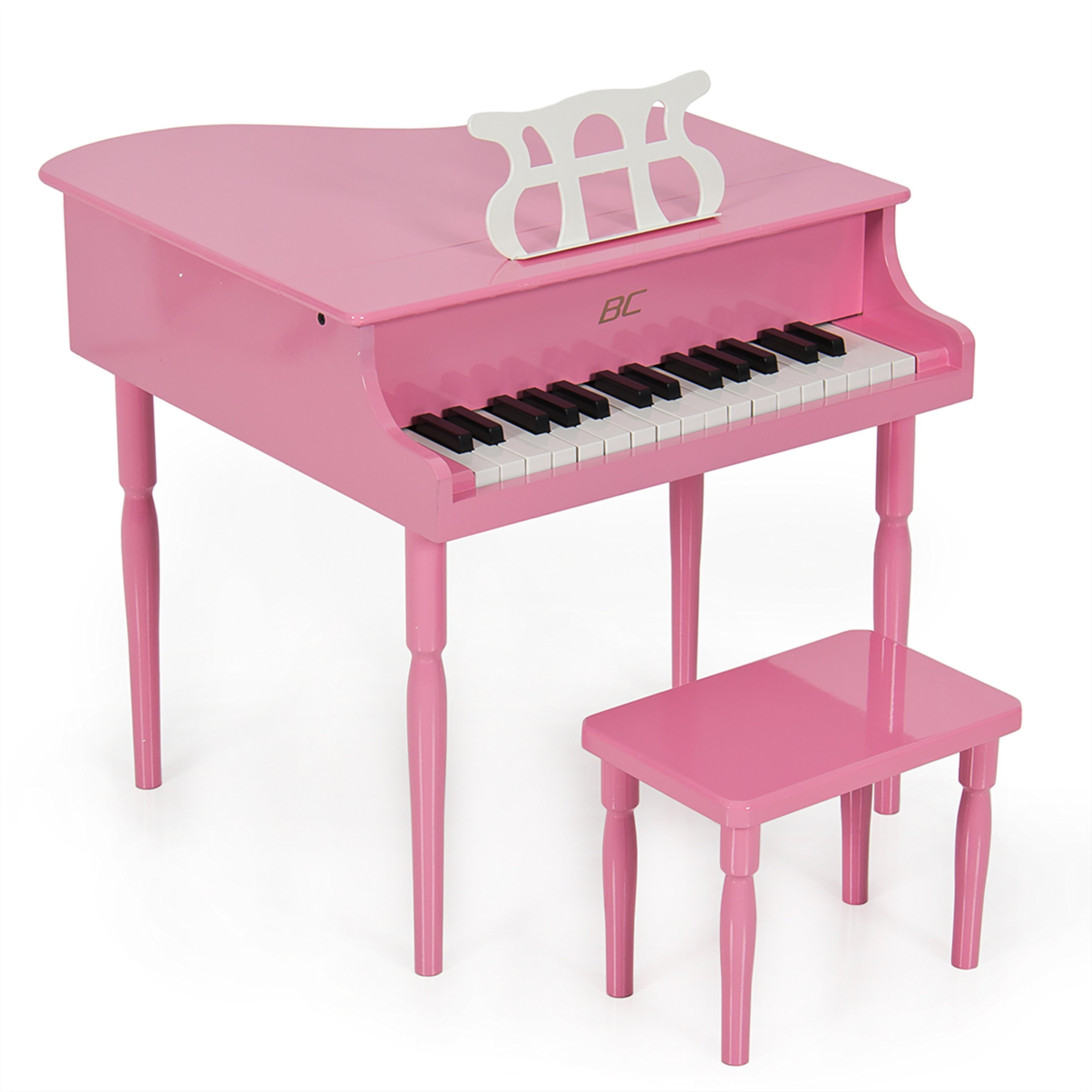 Best Choice Products Kids Classic Wood 30-Key Mini Baby Grand Piano Musical Instrument Toy w/ Bench, Sheet Music Stand- Pink