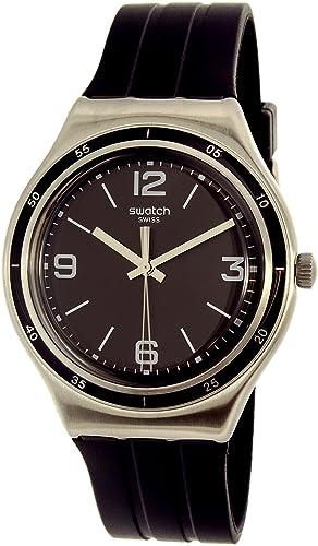 Swatch hombre brillante negro ygs132 plata/negro goma reloj cuarzo suizo: Swatch: Amazon.es: Relojes