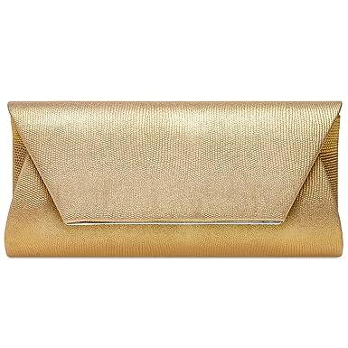 Caspar TA523 Bolso de Mano XL/Clutch para Mujer Estampado Piel de Serpiente, Color:dorado, Tamaño:Talla Única: Amazon.es: Ropa y accesorios