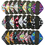 6 Pieces 8 Inch Charcoal Bamboo Mama Cloth/ Menstrual Pads/ Reusable Sanitary Pads / Panty Liners - You Choose 6 From 17 Designs and Send the Message to Me