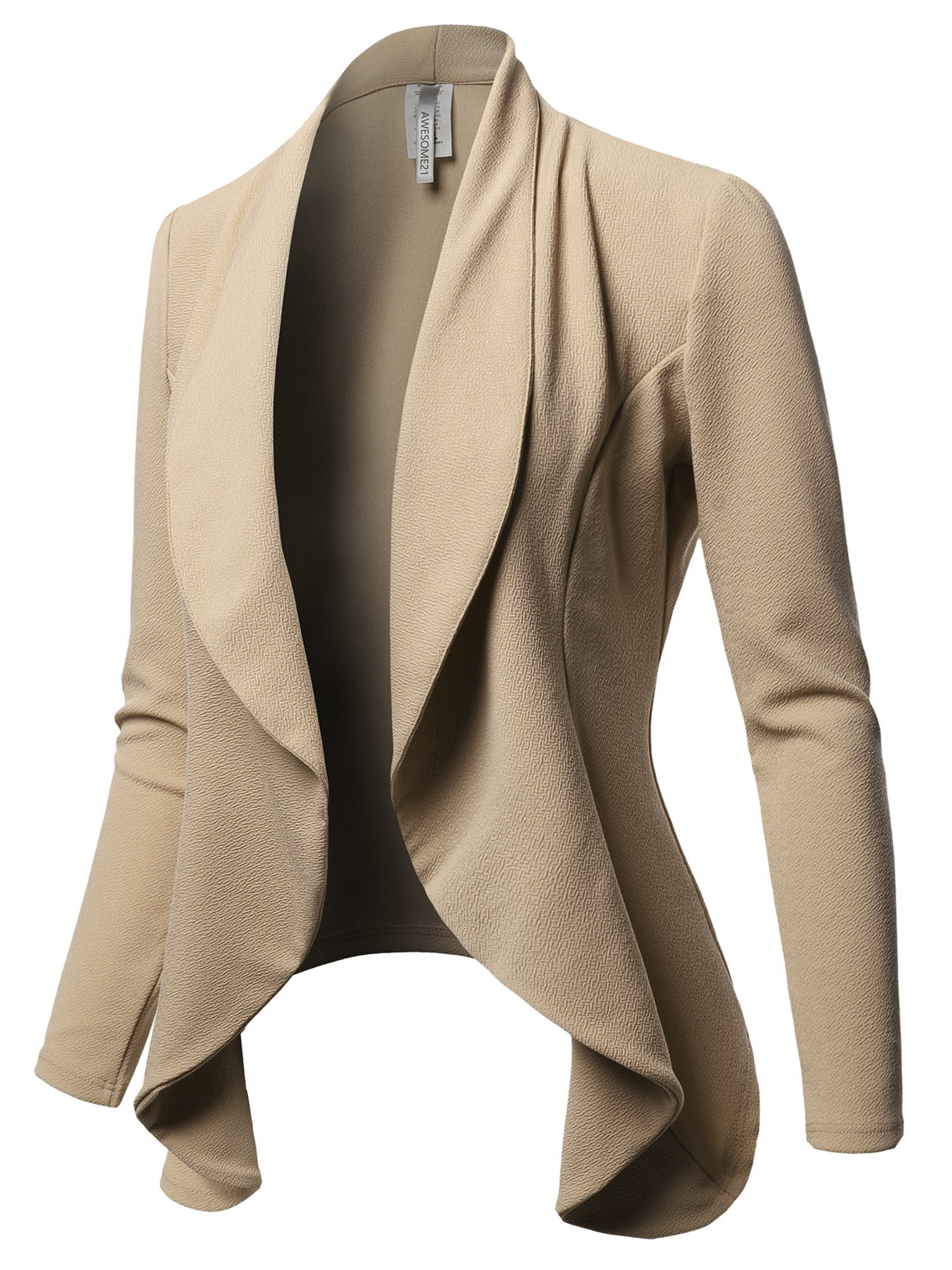 Awesome21 Solid Formal Office Style Open Front Long Sleeves Blazer - Made in USA Khaki Size S