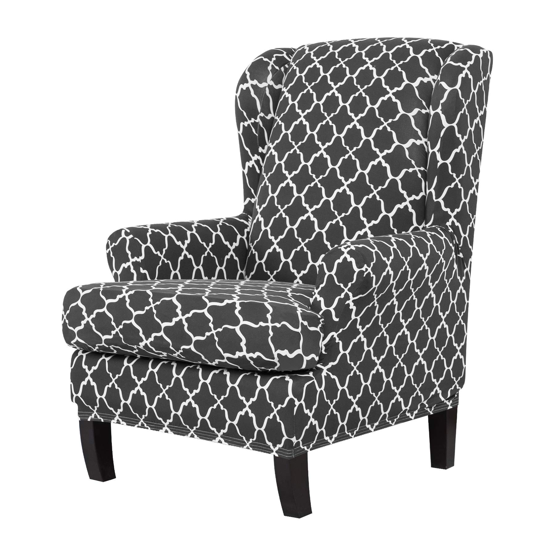 TIKAMI Wing Chair Slipcovers Stretch Wingback Armchair Cover 2-Piece Sofa Furniture Protector with Printing Pattern Spandex Fabirc(Gray)