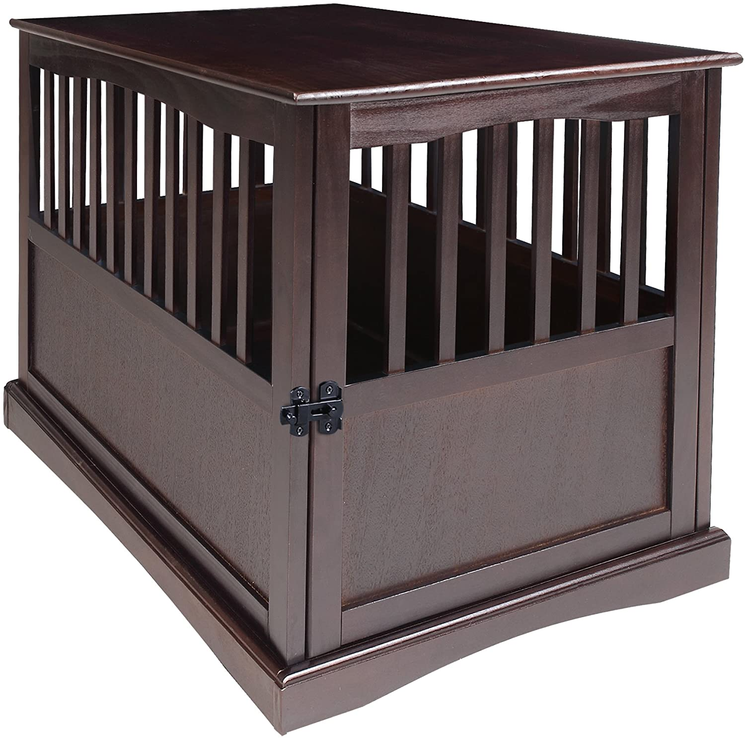 Casual Home Wooden Large Pet Crate, End Table, Espresso