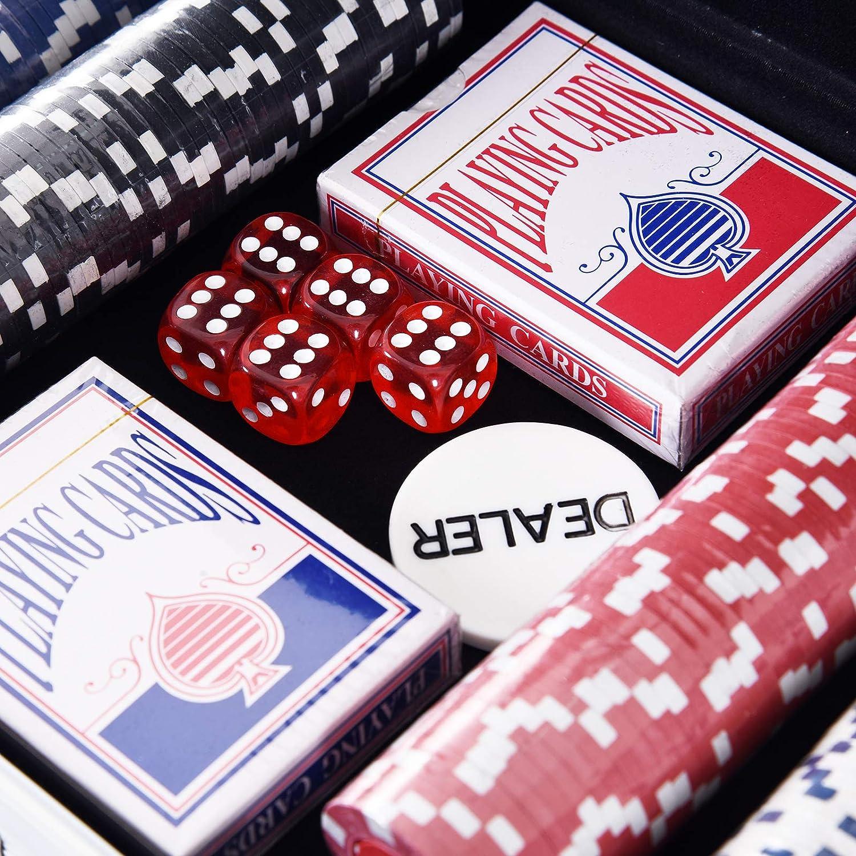 HOMCOM Juego de Póker con 300 Fichas Juego de Chips de ...