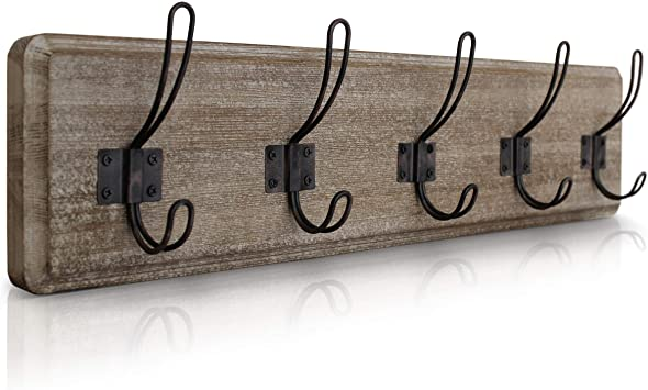 Amazon Com Rustic Coat Rack Wall Mounted Brown Wooden 24 Entryway Coat Hooks 5 Rustic Hooks Solid Pine Wood Perfect Touch For Your Entryway Kitchen Bathroom Weathered Brown Office Products