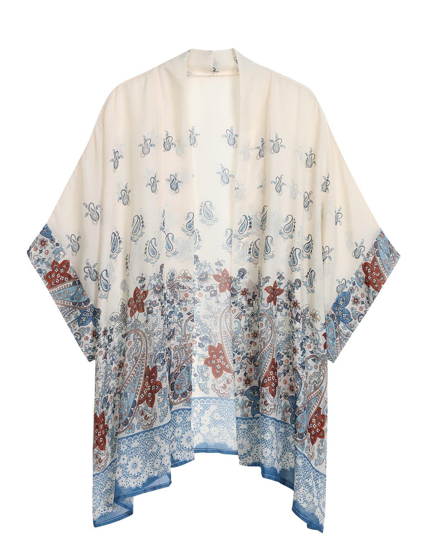 WEIYAN Women's Summer Tops Loose Chiffon Kimono Cardigan Blouse (White1, L)