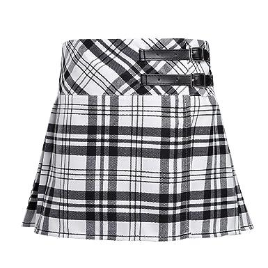 bdbc9b551cb77f IEFIEL Mini Jupe Enfant Fille Jupe Plissés à Carreaux Jupe Écossais Taille  Haute Jupe Tartan avec Boucle Similicuir 4-14 Ans