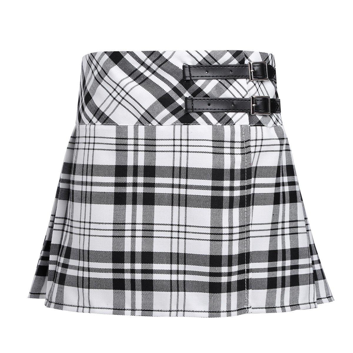 Freebily Girls Tartan Pleated Billie Kilt Miniskirt Classical School Uniforms Skirts Black&White 6