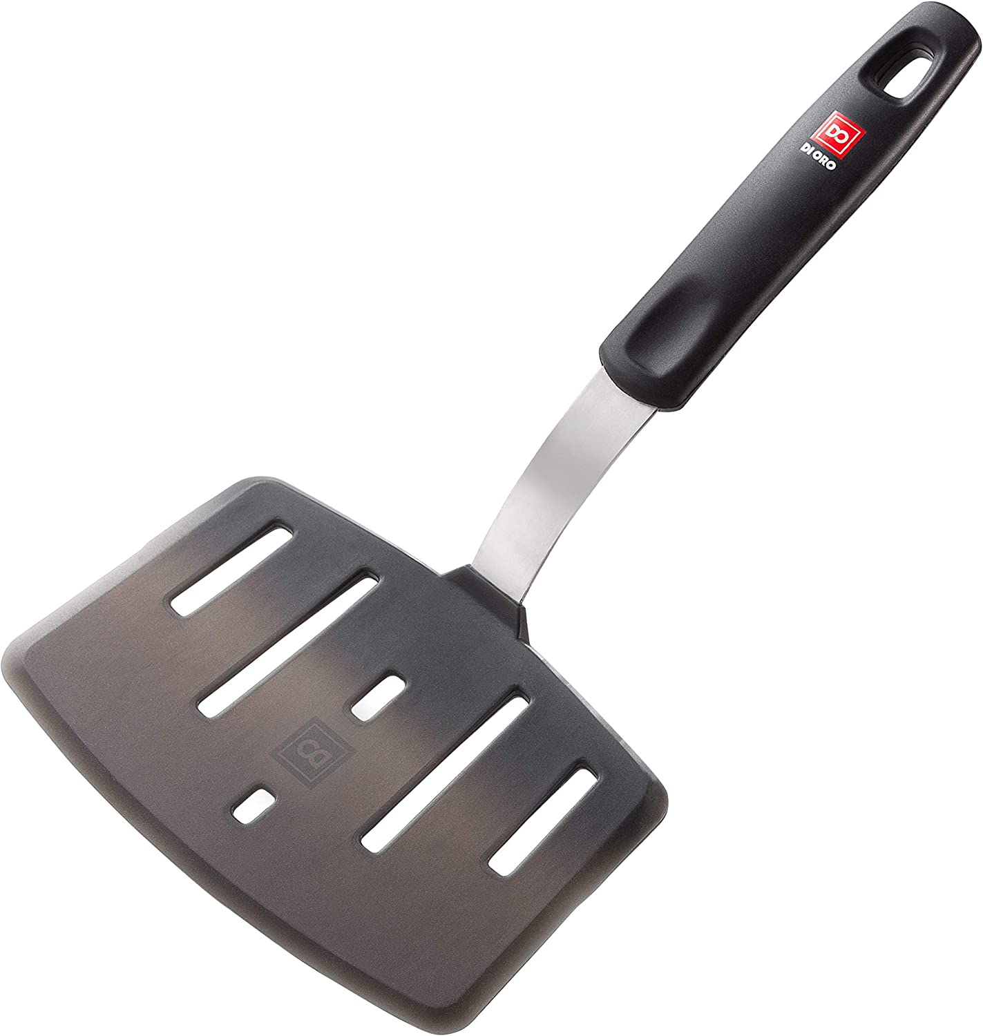 All-New DI ORO Designer Series Wide Slotted Turner Spatula - Features 600F Heat-Resistant No-Melt Rubber Spatula Handle and Blade - Silicone Kitchen Spatula for Cooking or Baking - Dishwasher Safe