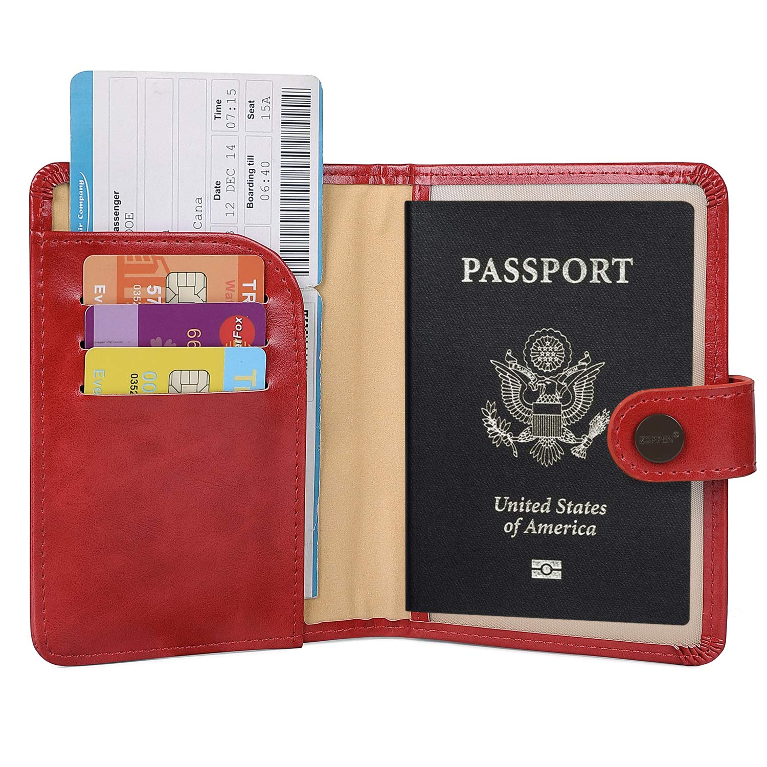 Zoppen Rfid Blocking Travel Passport Holder Cover Slim Id Card Case (#40Ruby red)