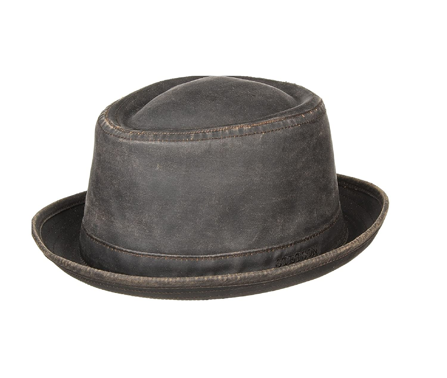 Stetson ODenton' Distressed Faux Leather Pork Pie Trilby 1611101