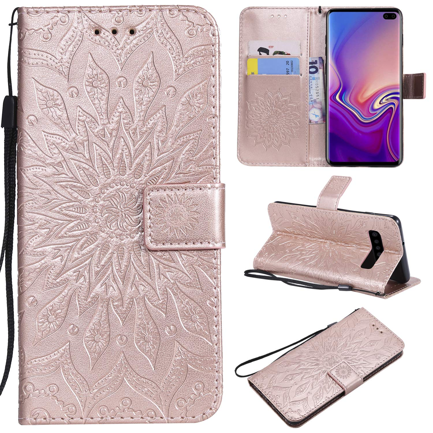 Galaxy S10 Plus Case,Samsung S10 Plus Case,Wallet Case,PU Leather Case Sun Flower Pattern Embossed Purse with Kickstand Flip Cover Card Holders Hand Strap for Samsung Galaxy S10 Plus Rose Gold
