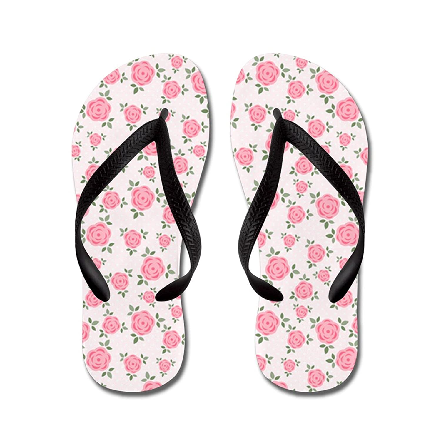 Lplpol Pretty Pink Flowers Pattern Flip Flops for Kids and Adult Unisex Beach Sandals Pool Shoes Party Slippers