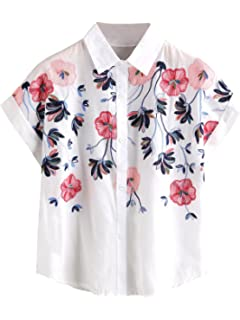 b74c6ea917 SheIn Women's Casual Floral Embroidered See-Through Short Sleeve Blouse