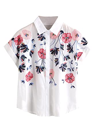 33f5351c5d SheIn Women's Casual Floral Embroidered See-Through Short Sleeve Blouse at  Amazon Women's Clothing store: