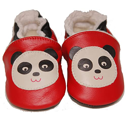 93a114f17d6d48 CONDA Baby Handmade Cute Black and White Panda Baby Moccasins Leather Soft  Sole Slip on Baby