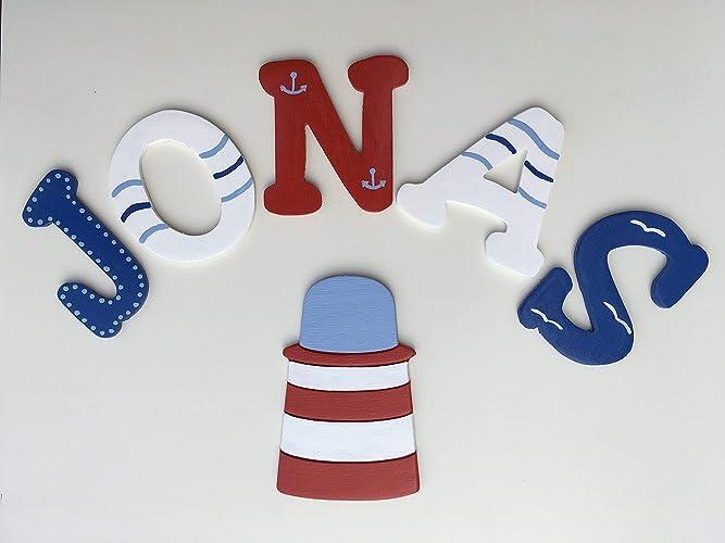Tolle Holzbuchstaben für Kinderzimmer-Tür, Maritim: Amazon.de: Handmade