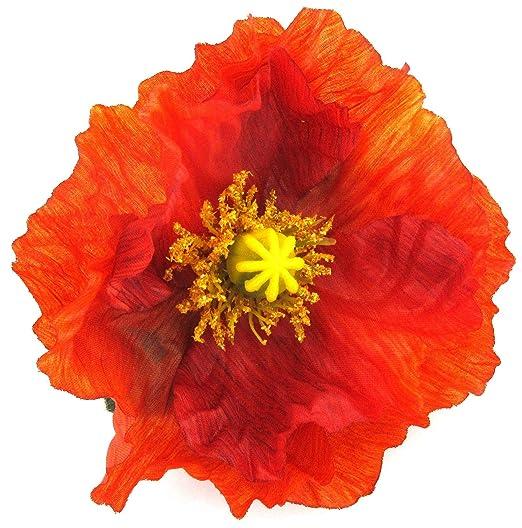 Amazon large 45 tropical orange poppy silk flower brooch pin large 45quot tropical orange poppy silk flower brooch pin with locking bale mightylinksfo
