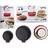Lékué 3000029SURM017 Moule Forme Burger/Pain Plastique/Silicone Rouge/Blanc 45 x 35 x 25 cm