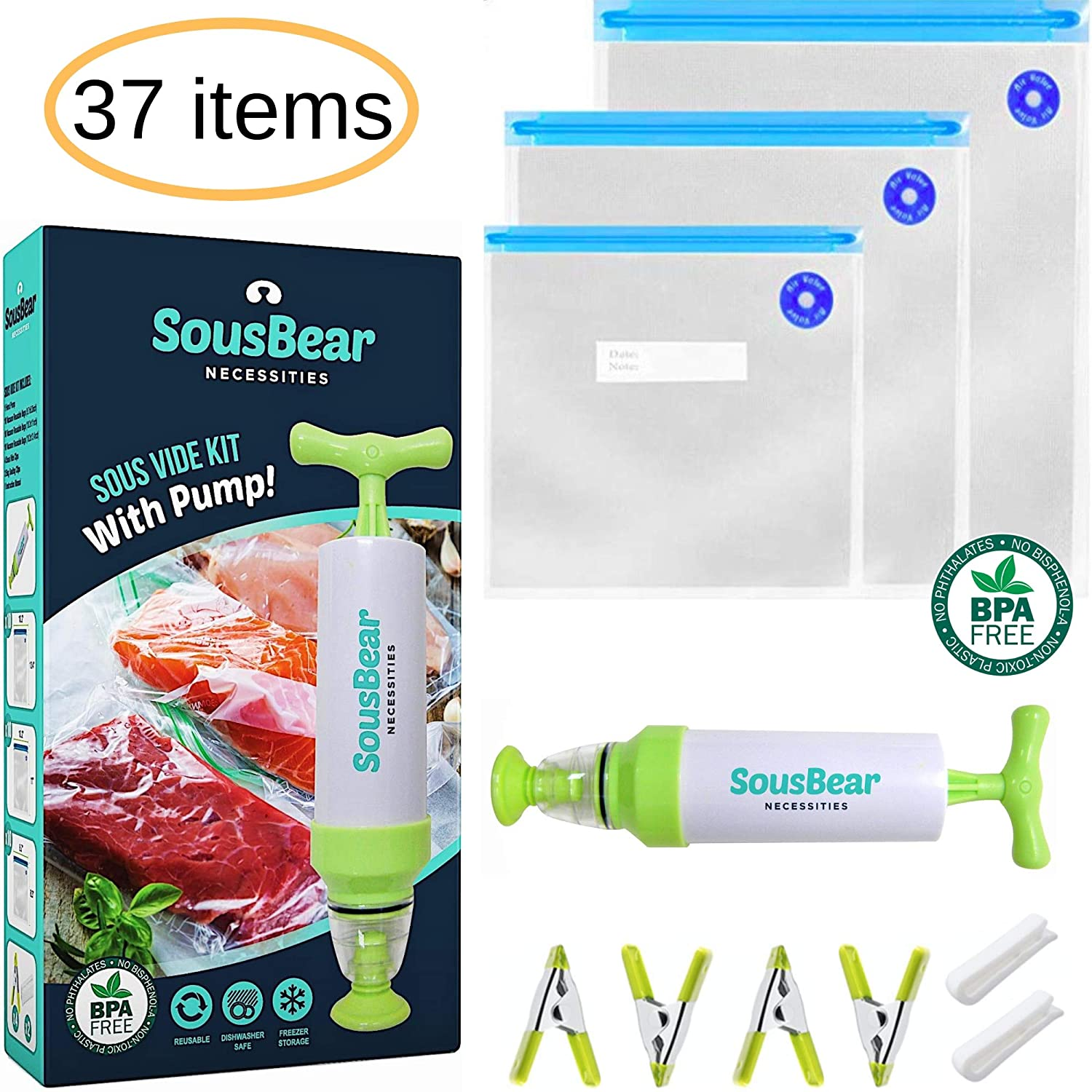 Sous Vide Bags BPA Free 30 Reusable Vacuum Food Storage Bags - 3 Sizes Sous Vide Bag Large Kit for Anova, Joule Cookers
