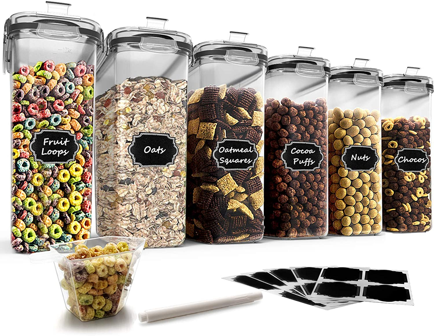 Airtight Food Storage Containers Cereal Container, Blingco Large Cereal & Dry Food Storage Containers for Flour, Sugar, Cereal and Pantry Storage with Black Locking Lids - Set of 6 (4L /135.3oz)