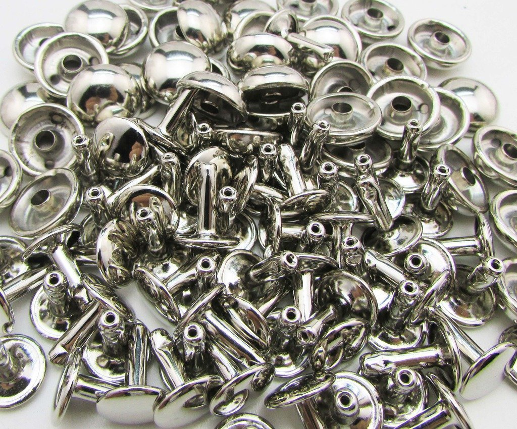 Silver color Medium Size Double Cap Rivets (Pack of 100 Pc) Indian Accent