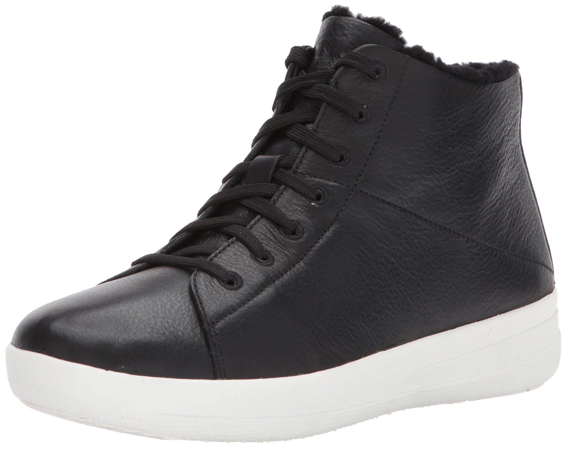 FitFlop Women's F-Sporty Sneakerboots In Leather Sneaker, Black, 5 M US