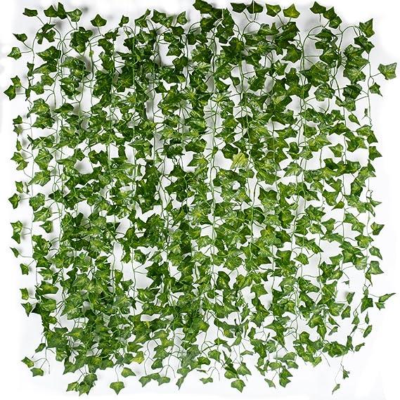 AONER 12x2m Lierre Vigne Plante Artificielle Intérieur Exterieur Plante Guirlande Decoration Deco Maison Mariage