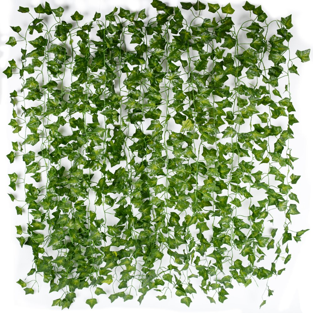 AONER (12pcs x 2m) Hiedra Hojas de Vid Artificial Guirnalda Plantas Decoración Verde Follaje