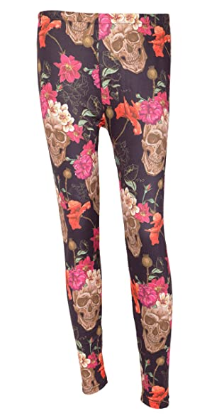 DREAGAL Womens Colorful Flower And Skull Print Leggings Stretch Tights Small