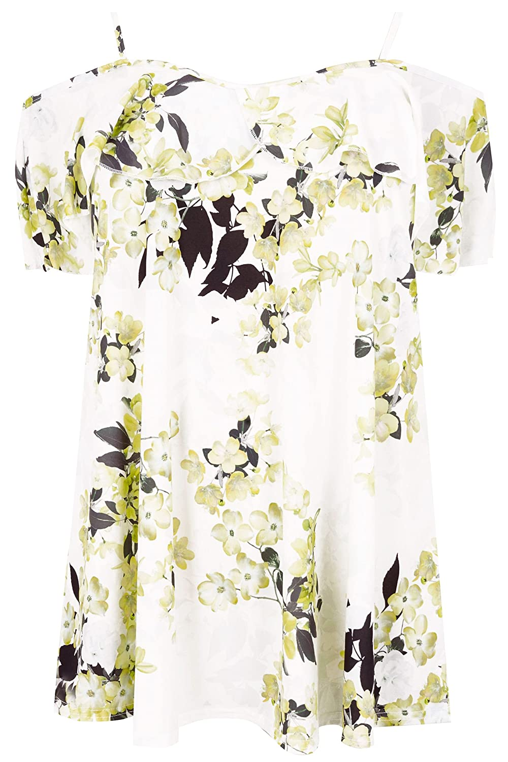 Women's Plus Size White & Yellow Floral Print Frill Cold Shoulder Top