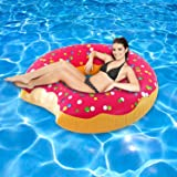 Delectable Gigantic 4-Feet Tall Strawberry Frosted Donut Swimming Pool Float Inflatable Raft Floating Lounger for Kids and Adults
