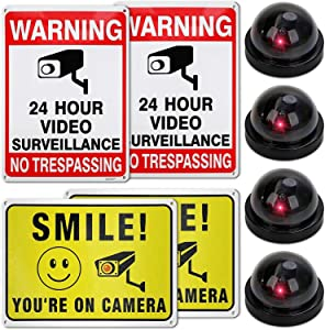 No trespassing sign Set Of 8 Includes 4 Dummy Fake surveillance Cameras Stickers And Screws To Hang Up The Signs For Buildings And Offices Indoor & Outdoor