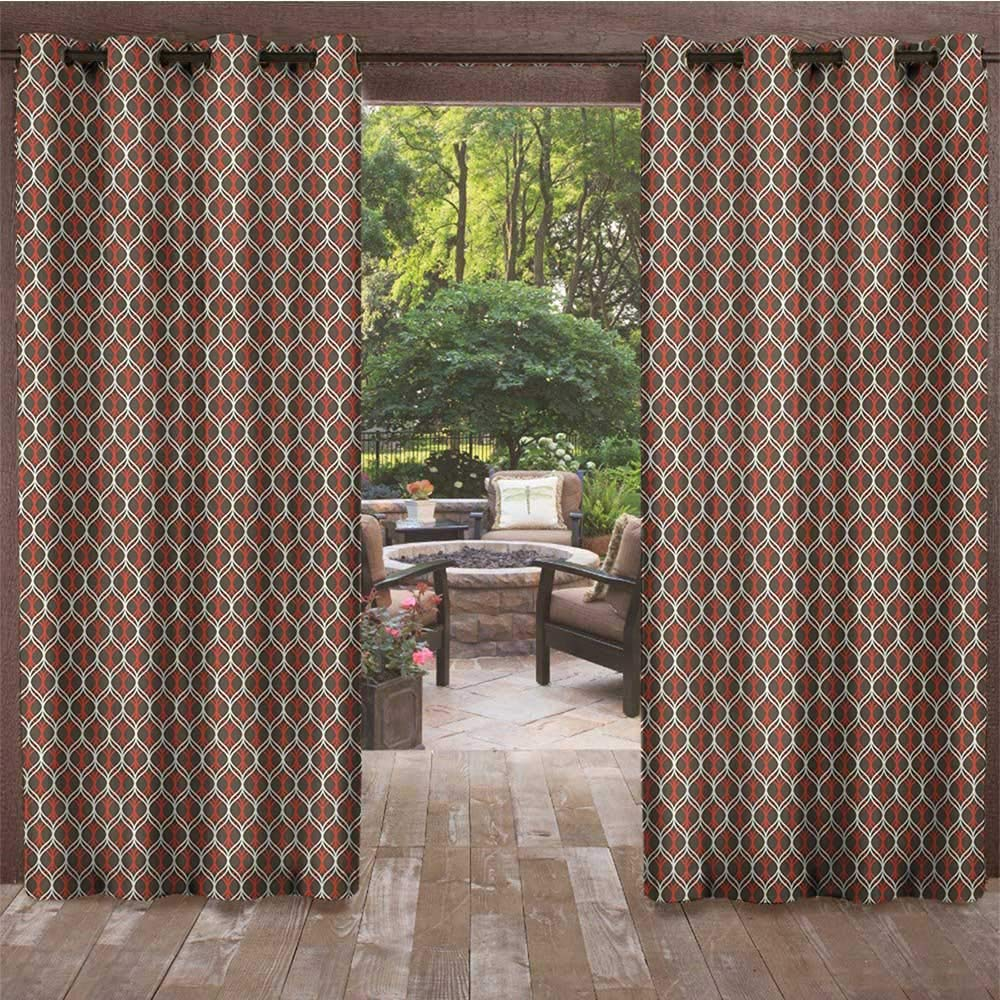 Outdoor Curtain Waterproof for Patio Furniture W72 x L108 Inch Chocolate White Vermilion Vertical Tangled Wavy Stripes Curves in Contrast Colors Old Fashioned leinuoyi Retro