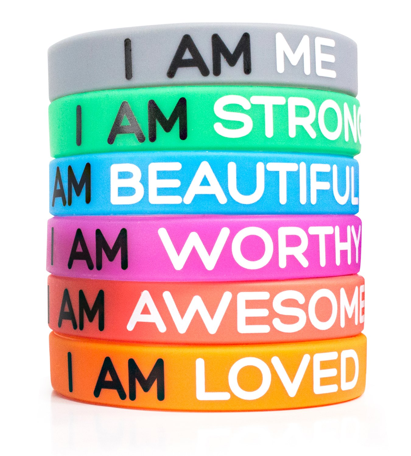 """Solza Inspirational Silicone Wristbands 6-Piece Set Rubber Band Bracelets, 6 Messages to Brighten Your Day   Adult Unisex Size, 8"""" x 0.5""""   Non-Toxic, Hypoallergenic Boxiki"""