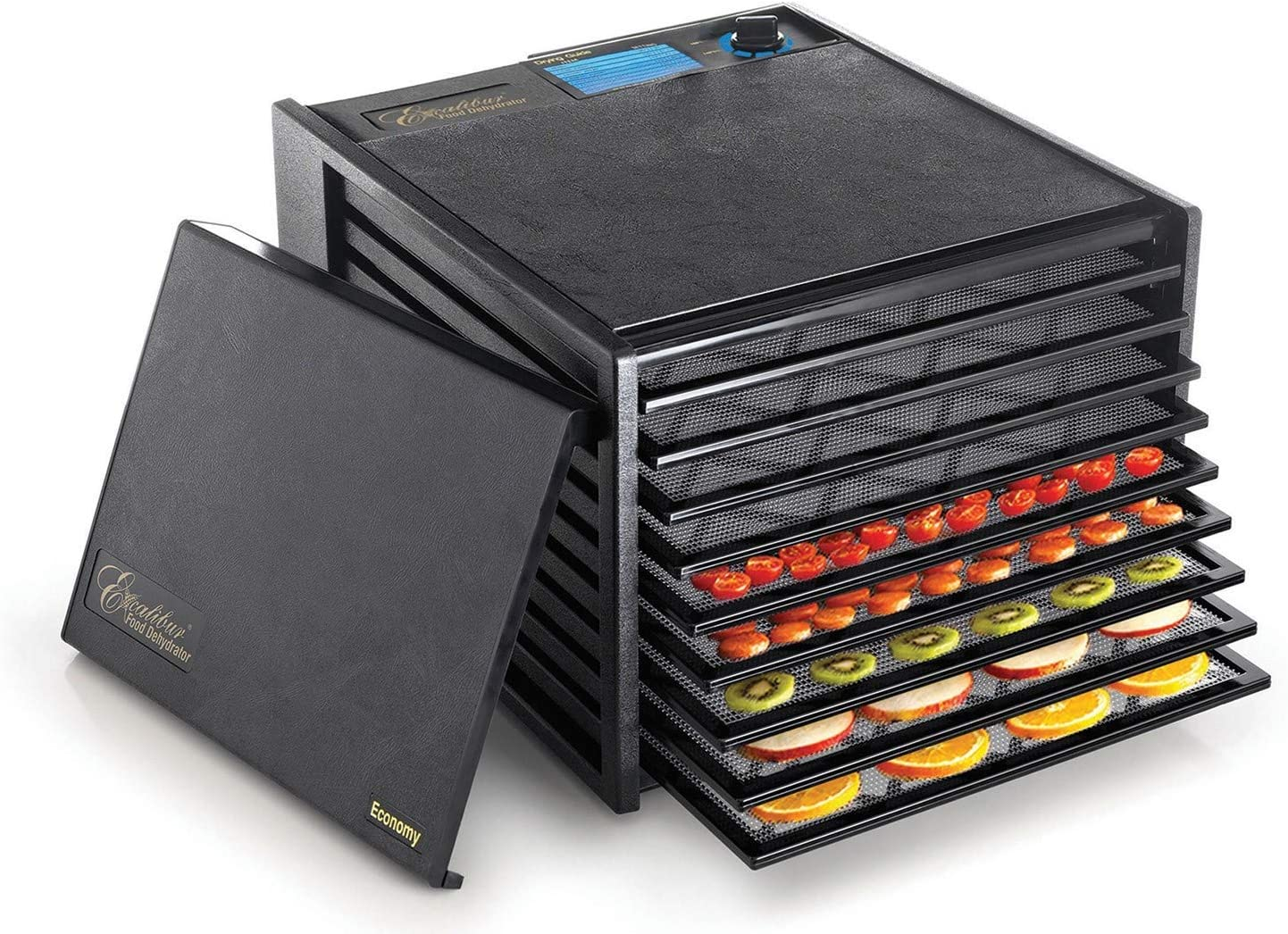Excalibur 2900ECB 9-Tray Food Dehydrator with Adjustable Thermostat for Temperature Control Patented Technology for Faster and Efficient Drying 15 Square Feet Drying Space Made in USA, 9-Tray, Black (Renewed)
