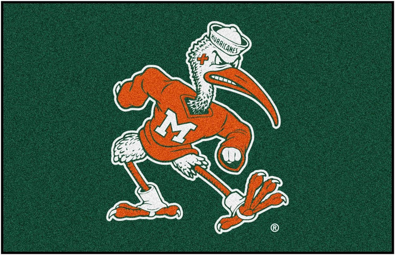FANMATS NCAA University of Miami Hurricanes Nylon Face Starter Rug